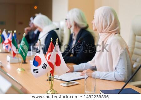 Bos vlaggen verscheidene buitenlands landen tabel Stockfoto © pressmaster