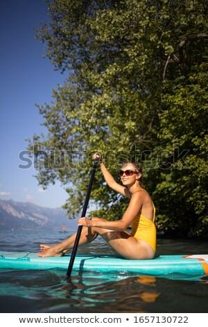 güzel · genç · kadın · yatılı · göl · durmak · yukarı - stok fotoğraf © lightpoet