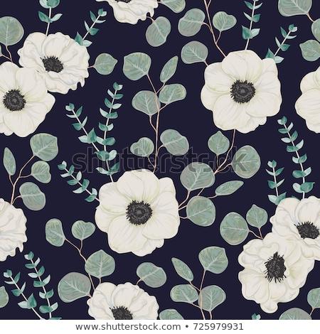 blu · nero · senza · soluzione · di · continuità · abstract · floreale · pattern - foto d'archivio © lemony