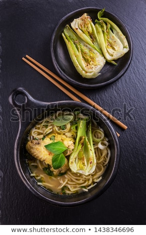 Thai green curry chicken soup with pak choi Stock photo © brebca