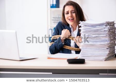 Jonge mooie werknemer omhoog touw kantoor Stockfoto © Elnur