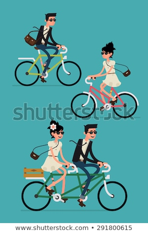 Uomo donna equitazione raddoppiare bike vettore Foto d'archivio © robuart