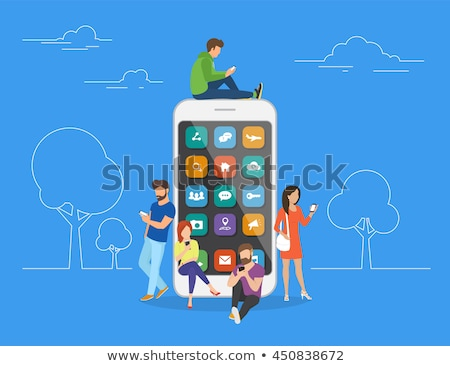 Mobile Communication of Man, Big Smartphone Cell Stock photo © robuart