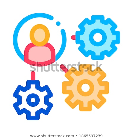 Gear Mechanism And Man Silhouette Agile Vector Stock photo © pikepicture