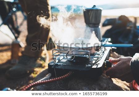 Kempingezés tűzhely ikon fehér háló mobil Stock fotó © smoki