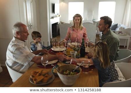 Foto stock: Ver · família · oração · juntos · refeição