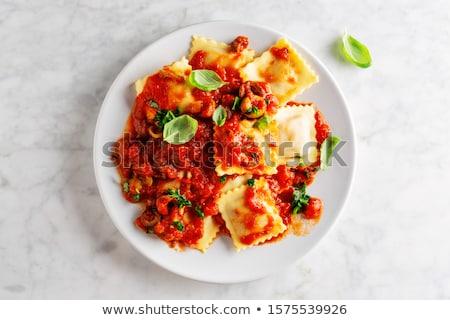 Ravioli surowy pomidorów makaronu świeże bazylia Zdjęcia stock © tycoon