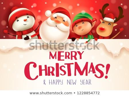 幸せ · サンタクロース · 鹿 · 雪だるま · サンタクロース · 冬 - ストックフォト © balasoiu