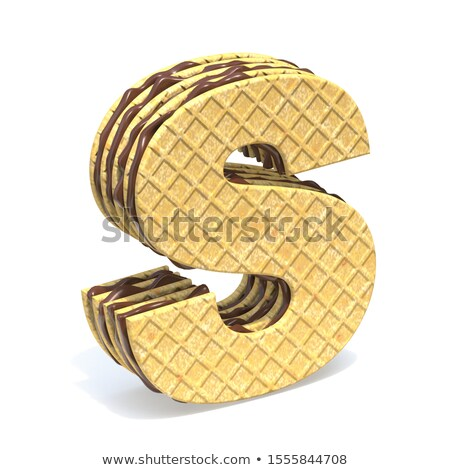 Waffles font with chocolate cream filling Letter S 3D Stock photo © djmilic
