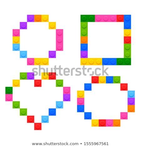 Négy mértani formák műanyag építőkockák gyerekek Stock fotó © SArts
