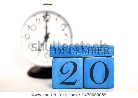 Kockák naptár december piros fehér ikon Stock fotó © Oakozhan