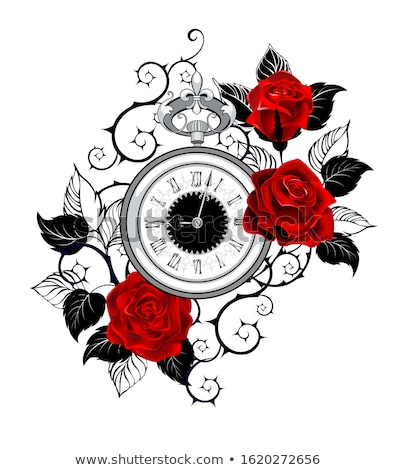 Contorno relógio rosas vermelhas monocromático antigo relógios Foto stock © blackmoon979