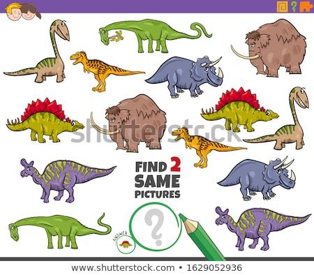 Foto stock: Encontrar · dois · animais · tarefa · crianças · desenho · animado