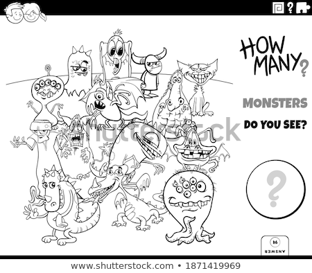 counting monsters educational task coloring book page Stock photo © izakowski