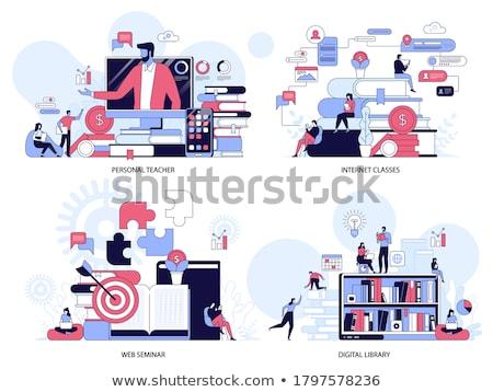 Afstand universiteit vector metafoor onderwijs Stockfoto © RAStudio