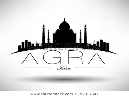 Taj Mahal skyline black and white silhouette Stock photo © ShustrikS