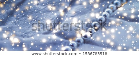 Stock photo: Winter holiday jewellery fashion, pearl necklace on fur backgrou