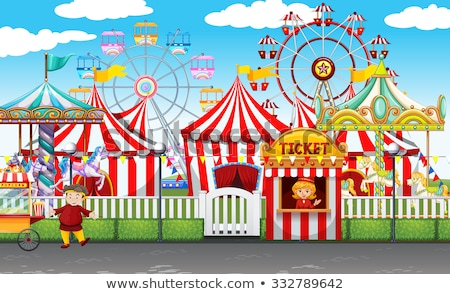 Circus scene with tents and many rides Stock photo © bluering