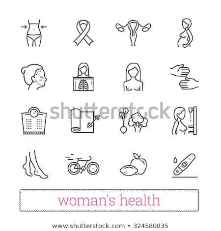 Women health - vector line design style icons set Stock photo © Decorwithme