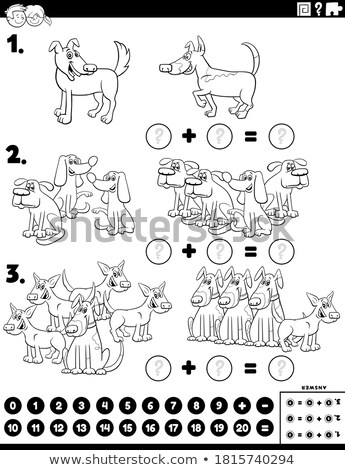 addition educational task with dogs color book page Stock photo © izakowski