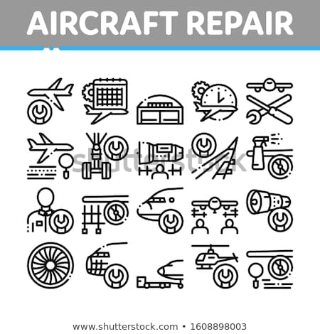Aircraft Repair Tool Collection Icons Set Vector Stock photo © pikepicture