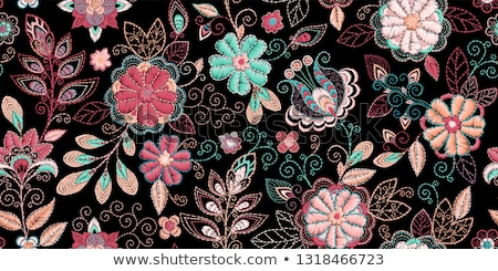 Nakış güzel çiçekler vektör el yapımı Stok fotoğraf © sanyal