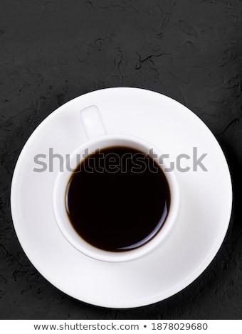 Matin tasse de café lait marbre pierre boisson chaude Photo stock © Anneleven