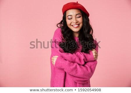 画像 美しい アジア 少女 着用 ベレー帽 ストックフォト © deandrobot