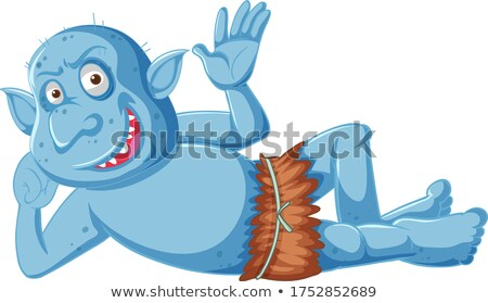 Blue goblin or troll smile while lying down in cartoon character Stock photo © bluering
