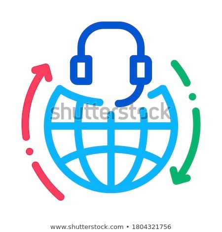 глобальный помочь столе горячая линия икона вектора Сток-фото © pikepicture
