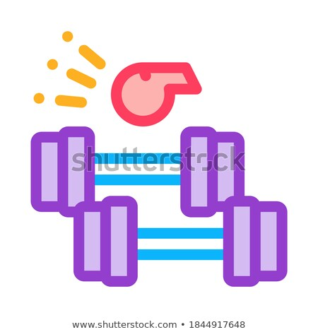 dumbbell pull under whistle of coach icon vector outline illustration Stock photo © pikepicture