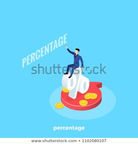 Człowiek zapisać procent izometryczny ikona wektora Zdjęcia stock © pikepicture