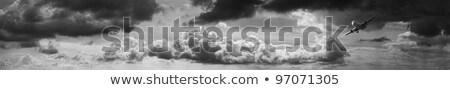 jato · aeronave · vôo · panorama · céu · pôr · do · sol - foto stock © moses