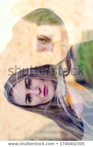 коллаж · молодые · красивая · девушка · свет · свитер · белый - Сток-фото © RuslanOmega
