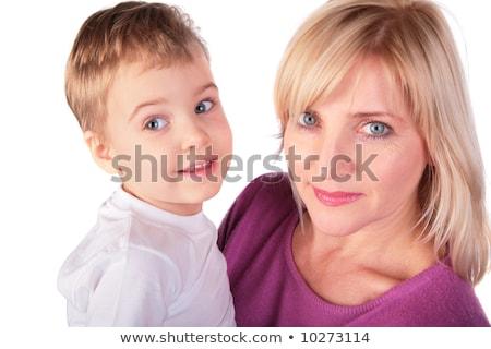Stock fotó: Középkorú · nő · gyerek · arc · közelkép · boldog
