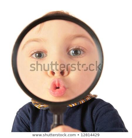 Kind kus vergrootglas meisje hand oog Stockfoto © Paha_L