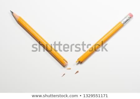 сломанной · карандашом · желтый · белый · бумаги · рук - Сток-фото © balefire9
