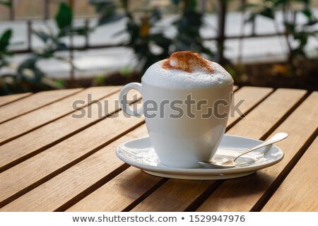 Cappuccino terrasse table chocolat domaine restaurant Photo stock © duoduo