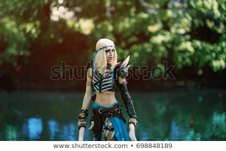 Menina cosplay terno preto olhos beleza Foto stock © zybr78