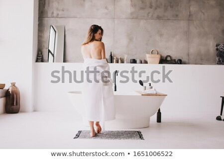 Stock photo: Woman in white bathrobe resting