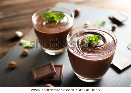 Chocolate Pudding Dessert with Whipped Cream Stock photo © klsbear