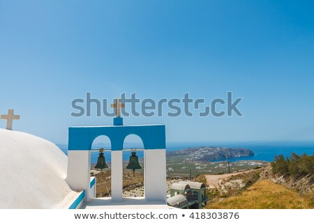 Сток-фото: Церкви · Санторини · Греция · небольшой · синий · забор