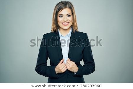 Káprázatos divatos fiatal barna hajú portré nő Stock fotó © lithian