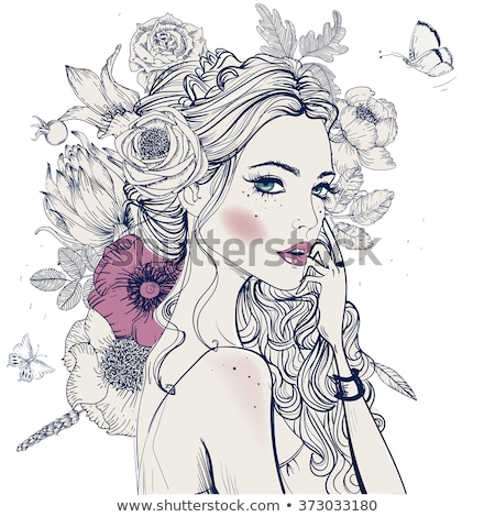 young beautiful woman portrait with white flower Stock photo © juniart