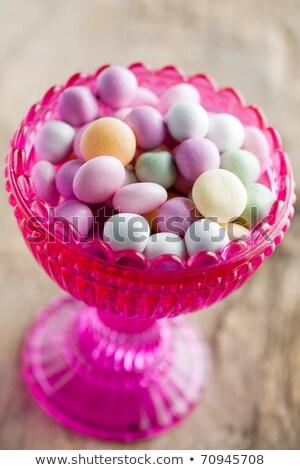 cukorka · rózsaszín · tál · izolált · fehér - stock fotó © anskuw