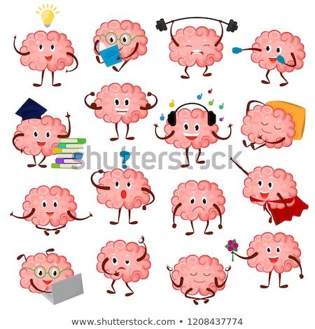 Cartoon мозг приветствие 3D оказанный иллюстрация Сток-фото © Spectral