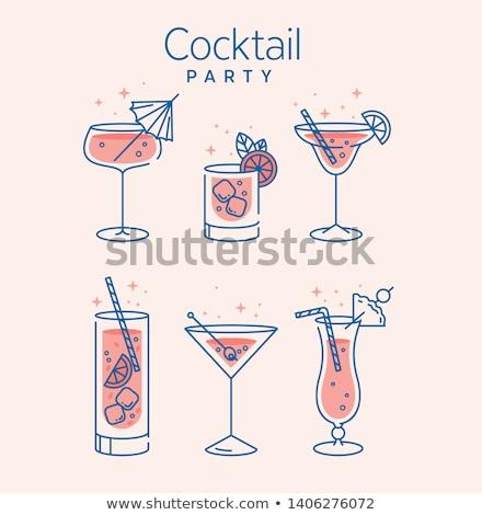 Foto stock: Tropical · coquetel · óculos · azul · festa · vinho