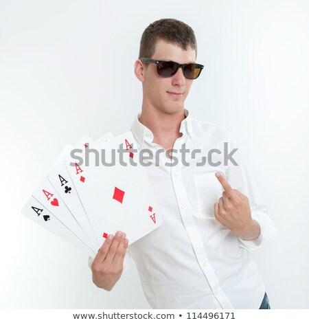 Homme quatre main heureux fond Photo stock © photography33