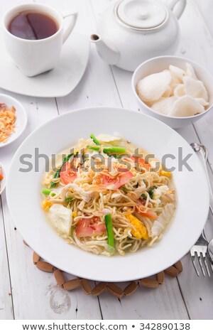 Rusztikus indonéz tyúkhúsleves kicsi tál étel Stock fotó © pzaxe