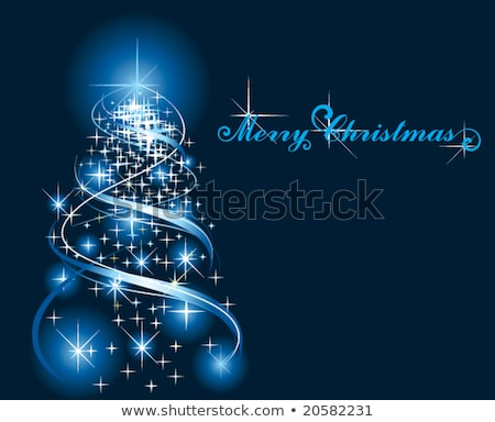 Christmas background with blue ornament and curled ribbon Stock photo © ozaiachin